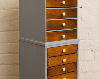 Vintage chest of drawers, storage, craft or office storage, industrial home or country cottage, shabby chic home
