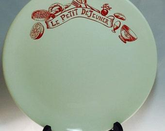 Vintage Le Comptoir De Famille Prim 'Style' Petit DeJeuner France Red & White Dish Plate
