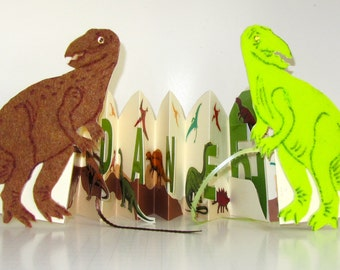 Dinosaur Happy 5th Birthday Pop Up Accordion Book Card Original Handmade in Browns Beige and Neon Green CUSTOM ORDER For Liz One Of A Kind