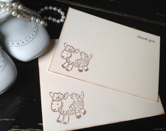 Lamb Baby Thank You Notes and Cards-Gender Neutral Cards and Card Sets