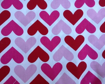 Red Heart Fabric, 3/4 Yard Red Premier Prints Heart Fabric, Red Heart, Valentine's Day Red Heart -C 15
