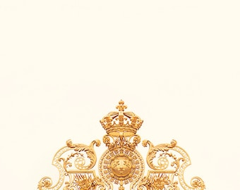 versailles print, paris photography, golden gate, france, french home decor, gold, Château de Versailles, crown, gilded / golden gate