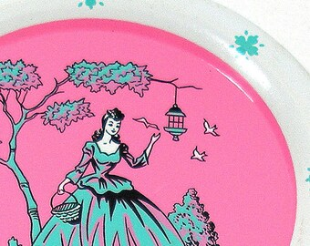 50's Tin Toy Tea plate Southern Belle graphics by Ohio Art Co.