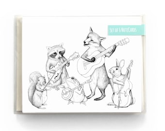 Bluegrass Animal Band Notecards. Boxed Set Woodland Stationery. Cute Note Cards. Unique Animal Stationery Set. Music Stationery Box Gift Set