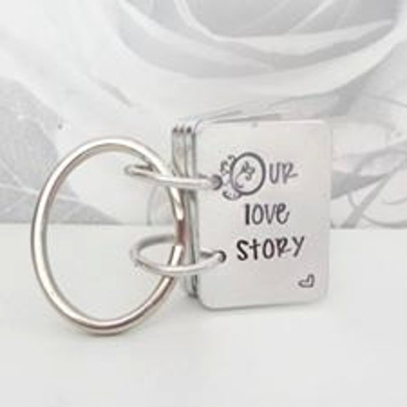 our love story, Story Book key ring, valentines gift,  hand stamped key chain, wedding anniversary present, for him, for her, personalised,