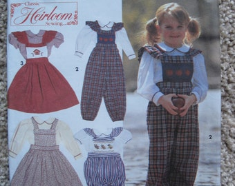 UNCUT Childs Blouse, Overalls in Two Lengths and Jumper - Size 2, 3, 4 - Simplicity Pattern 8020 - Vintage 1992