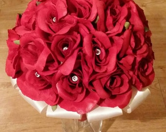 Silk rose bridal bouquet, any colour