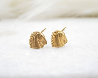 Unicorn Stud Earrings, magical, titanium, hypoallergenic, brass, gold, cute, animal