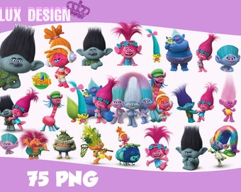 75 Trolls ClipArt- PNG Images 300dpi Digital, Clip Art, Instant Download, Graphics transparent background Scrapbook