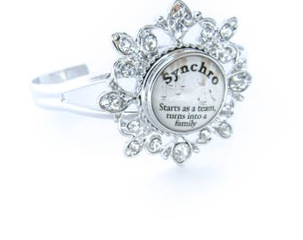SYNCHRO SKATING BRACELET Interchangeable Snap Button Ice Skating Charm Bracelet Gift for Skaters and Coaches