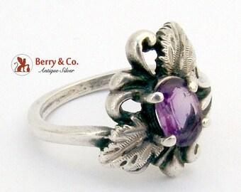 SaLe! sALe! Vintage Leaf Amethyst Ring Sterling Silver Signed