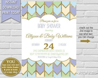Gender Neutral Baby Shower | Baby Shower Invite, shower Invitation, Printable Invitation, Boy Baby shower, Girl Baby Shower, Gender Neutral