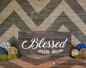 "Blessed 12"" Wood Sign"