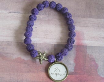 "Inspiration ""Be Inspired"" Charm Beaded Bracelet, Purple Lava Beads and Starfish"