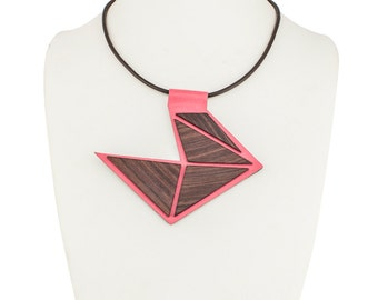 Leather and Wood Necklace, Handmade Necklace, One of a Kind Rosewood and Pink Genuine Leather Pendant on Cord ALL'AMO