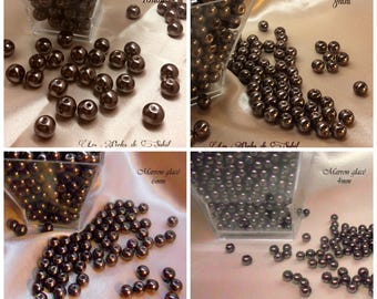 Brown chocolate pearls 4mm, 6mm, 8mm and 10mm glass