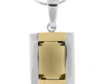 Silver and Gold Pendant, Smoky Quartz pendant, Women pendant, Sterling silver, handmade