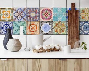 Traditional Portuguese Tiles, Azulejo Tile Stickers, PACK OF 24, Lisbon, Removable Tile Decal, Backsplash Decals, Ornamental #6T