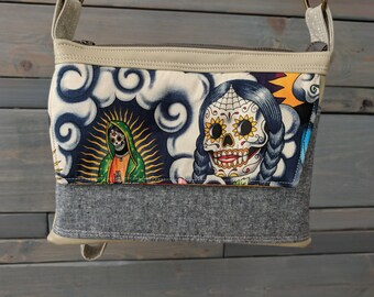 Sugar Skull Multi SMALL Emma Traverse Contigo Guadalupe Cross Body Purse