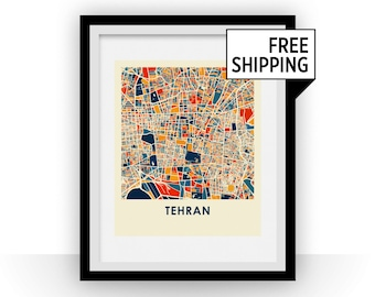 Tehran Map Print - Full Color Map Poster
