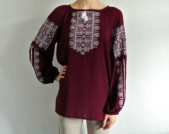 Vyshyvanka tops for women Boho long sleeve blouse Embroidered blouse Marsala Peasant blouse Boho tops Bohemian Loose fit top Top selling