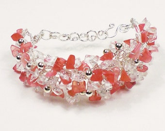 Quartz & Rhodochrosite Gemstone Chip Bracelet