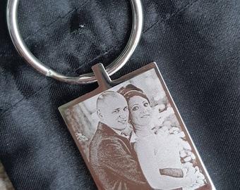 Personalised engraved wedding photo keyring