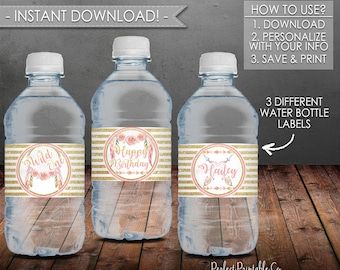 Dreamcatcher Wild One Water Bottle Labels, Birthday Party, Pink and Gold, Printable, Instant Download, Editable PDF File #662