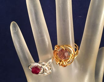 Bogo Gold and Purple Ring & Silver and Ruby Ring, Two Wire Wrapped Rings Size 7.5, One of a Kind Previously 30 Dollars ON SALE