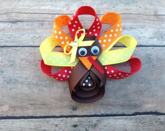 Turkey bow - Turkey hair bow - Turkey hairbow - Thanksgiving hair bow - Turkey - Holiday bow - Turkey Shape Bow - Turkey Hair Clip - Turkey