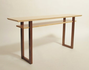 Contemporary Long Low Console Table: Narrow Sofa Table, Mid Century Modern Entry Table- Handmade Wood Furniture