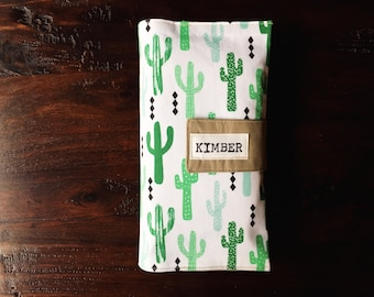 Diaper Clutch, Nappy Wallet, Cactus, Boutique Collection, Personalized, Monogram, Baby Shower Gift, Custom Baby Gift