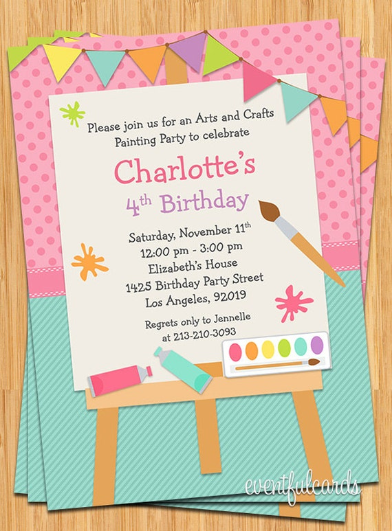Art Painting Birthday Party Invitation For Kids Printable