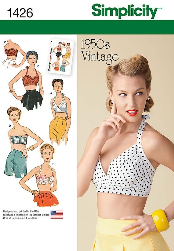 Simplicity Pattern 1426 Retro 50\'s Vintage Bra Halter Tops