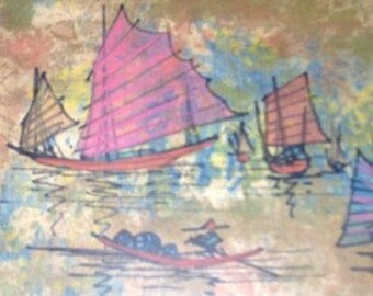 Rare & Vintage Yan Sang Picture Framers Hong Kong China Original Watercolor Painting #2