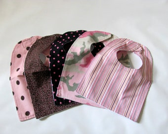 SALE!  Baby Bib, Girl Baby Bib, Girl Bib,  Set of 5 Baby Girl Bib, Flannel Girl Bib, Baby shower Gift Set, Baby Bibs, Match Baby Bib
