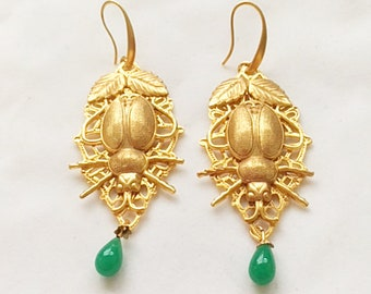 Beetle Earrings-Handmade Original-24kt gold plated