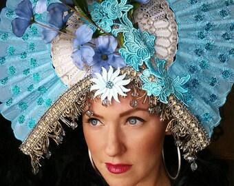 Huge Blue Fan fascinator Ornate,Fan,headpiece,crown,hat,headdress, geisha floral fan