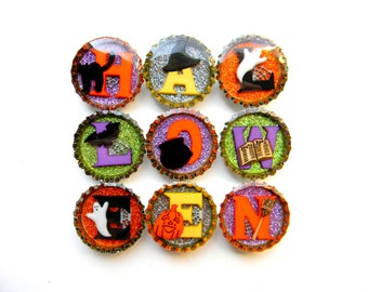 CLEARANCE Halloween Letters Bottle Cap Magnet Set of 9 with Pumpkins Ghosts Bats Witches Hat and Broom