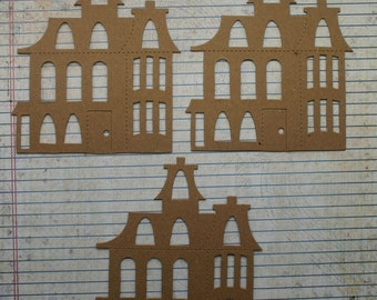 3 Bare Chipboard Haunted House Style no. 2 Die cuts Embellishments