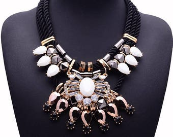 Handmade Black statement necklace
