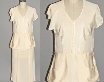 Vintage 1940s Dress, 40s Silk Dress, 1940s Cream Peplum Dress XS