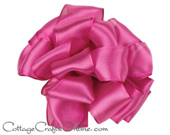"Wired Ribbon, 2 1/2"", Dark Pink Semi-Sheer, TWENTY FIVE Yard Roll, Offray ""Prelude Deep Plum"" Wedding Craft Wire Edged Ribbon"