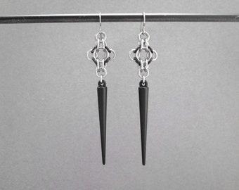 Goth Earrings, Chainmaille Jewelry, Long Spike Earrings, Long Black Earrings, Long Dangle Earrings, Chainmail Hypoallergenic Earrings