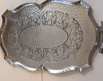 Hand Forged Hammered Aluminum Serving Tray Mid-century Vintage Kitchen Dining