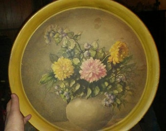 Big Vintage Metal Hanging Round Tray with Flowers