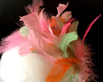 Colorful feather fascinator