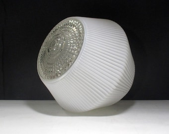 """Vintage White Glass Light Fixture Globe MidCentury Art Deco Replacement Ceiling Cover 4"""" Fitter Shade with Ribbed SawTooth Pattern"""