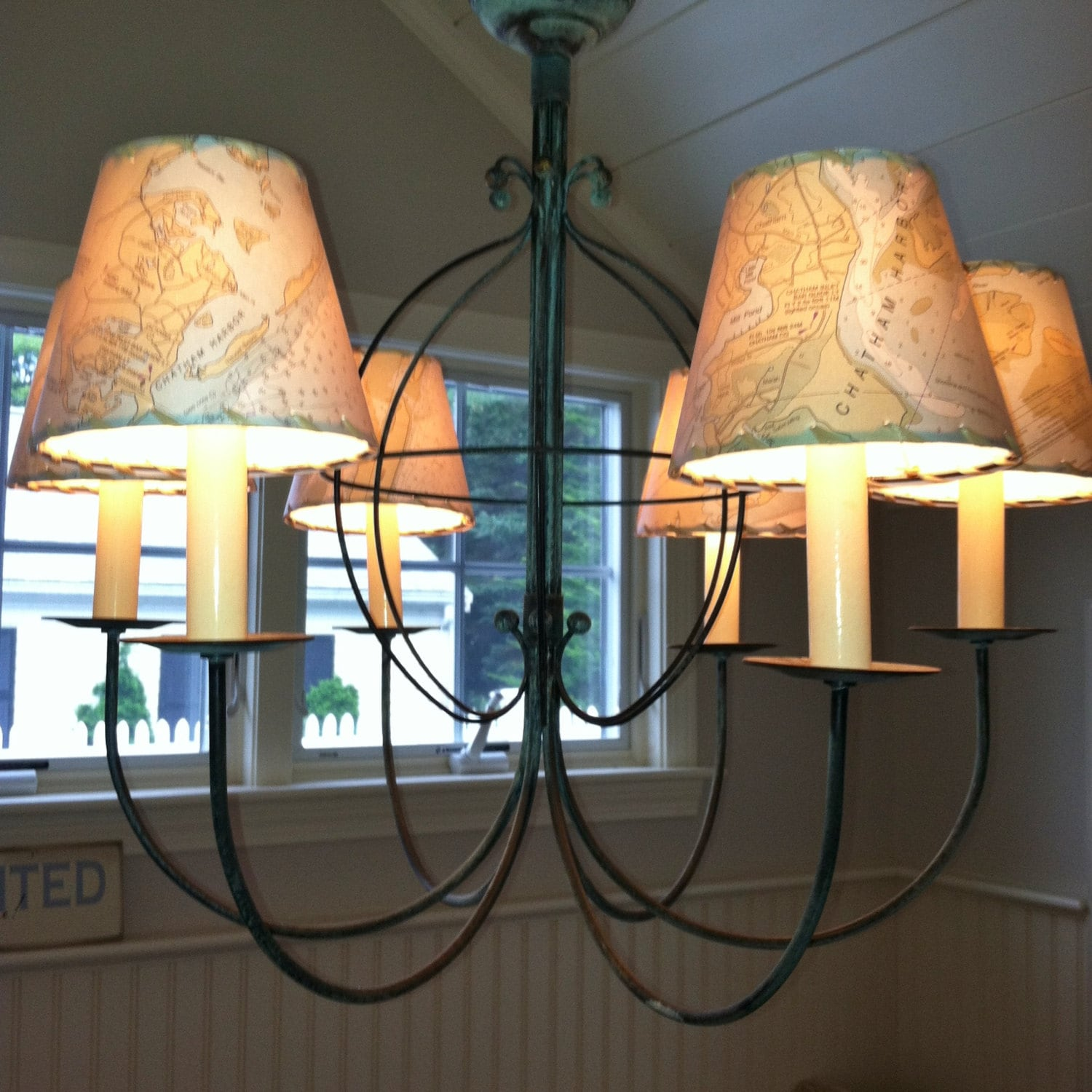 Ocean chart chandelier lampshades wall sconce shades made to zoom aloadofball Image collections