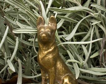 Brass Shephard Dog - Solid Brass  - Vintage Home Decor - 70s Decor -